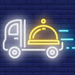 Neon icon of restaurant delivery service. Serving tray on truck in motion on brick wall background. Food delivery concept. Can be used for neon signs, posters, billboards, banners.